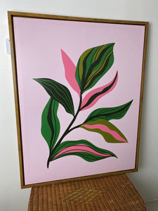Pink Leaf Framed Canvas Art
