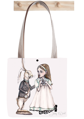 Alice and rabbit tote bag