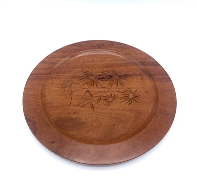 Wooden Daisy Carved Plate