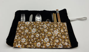 Reusable cutlery wrap -Brown