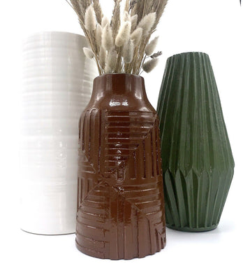Rustic Brown Geometric Vase