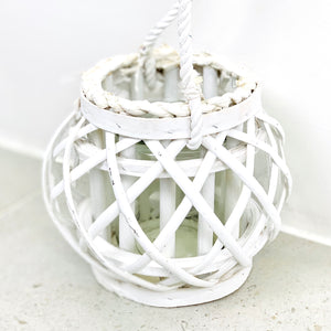 White Wicker Holder with Glass Insert