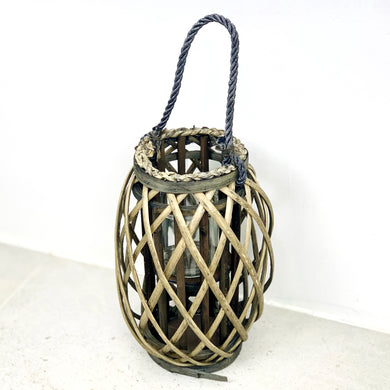 Wicker Holder with Glass Insert