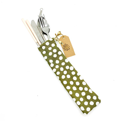 Cutlery Kit - Khaki Dots