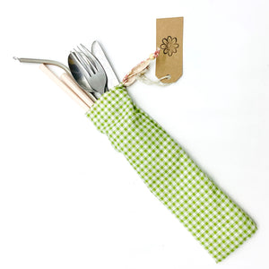 Cutlery Kit - Green Gingham