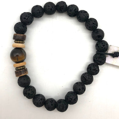 Tigers eye Lava & Wood Bracelet