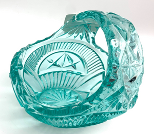 Vintage Aqua Glass Basket