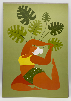 A3 Print Woman Green Yoga