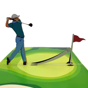 Golfer Man Pop Up Card