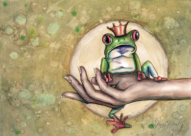Frog in hand (sml card)