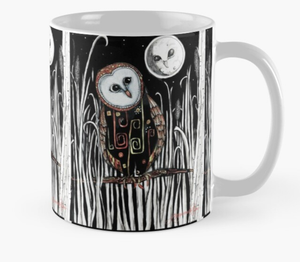 Owl and moon (mug)