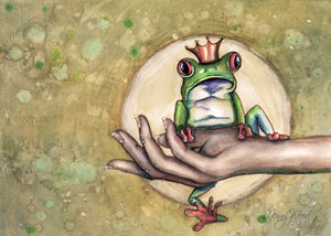 Frog in hand (A3 print)