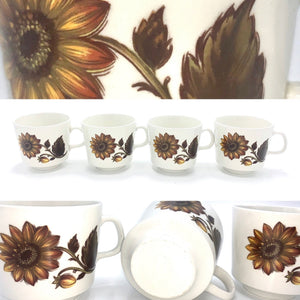 Sunflower Teacup Set of 4