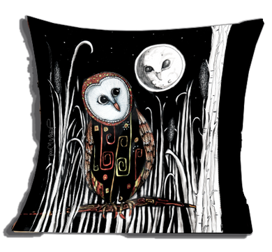 Owl and moon (cushion cover)