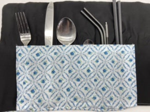 Reusable cutlery wrap -Blue
