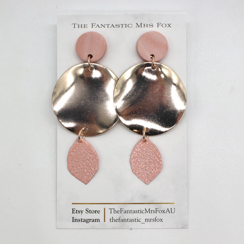 Pink & rose gold stud earrings