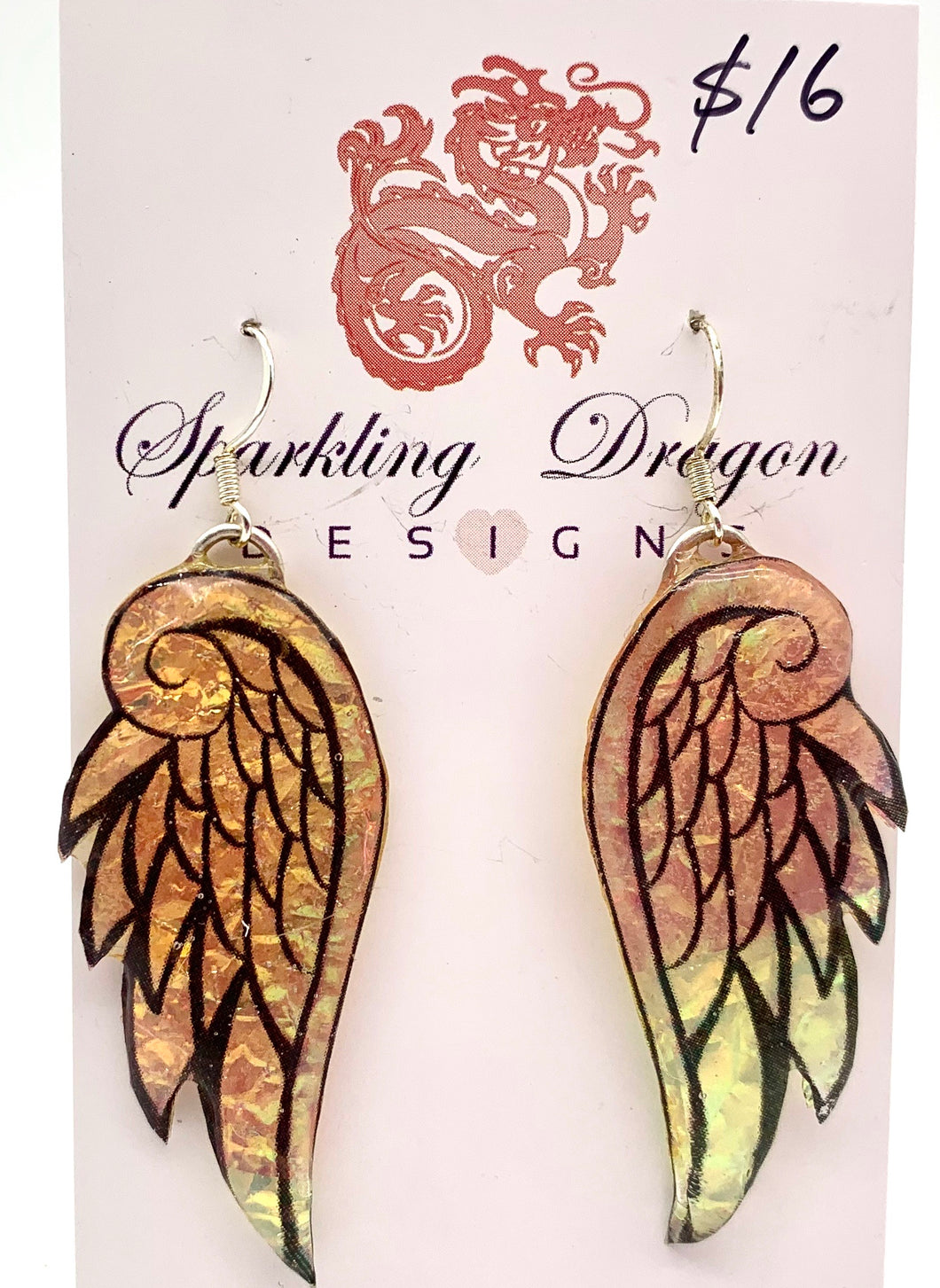 Angel Wing Earrings Gold