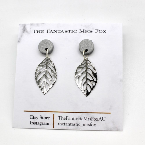 Silver stud & leaf earrings