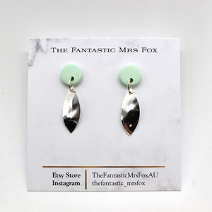 Mint stud and silver eye earrings