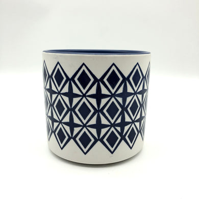 Blue Diamond Glazed Pot
