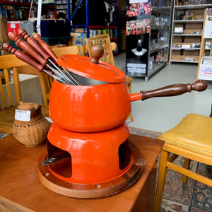 Vintage orange fondue set