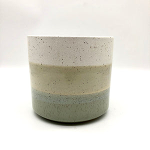 Green Stripe Glazed Pot