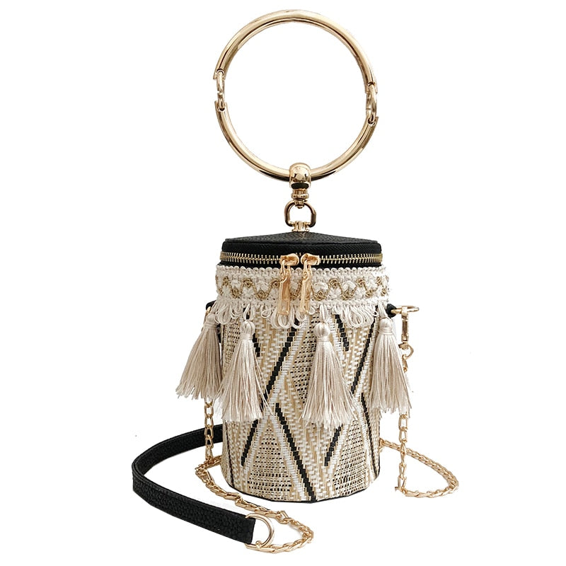 Summer Fashion New Handbag High quality Straw bag Women bag Round Tote bag Hand Metal Ring Tassel Chain Shoulder Travel bag