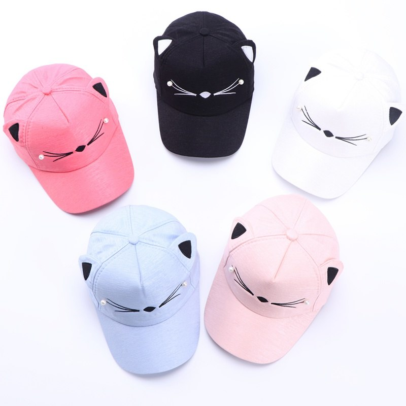 One Size Hat Boy Cap Girl Cloth Hat Hot Children's Caps Cartoon Embroidered Cat Toddler Baby Baseball Caps Kids AccessoriesA