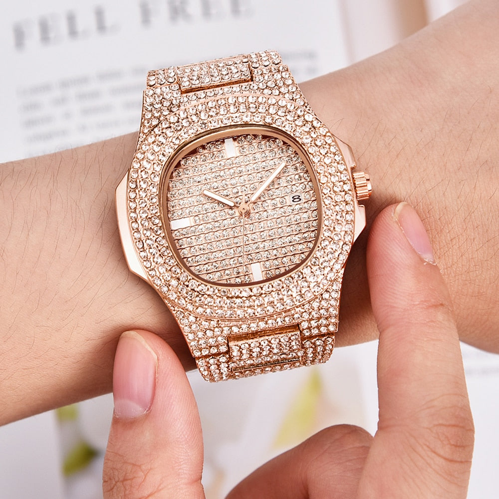 Mens Watches Fashion Luxury Diamond Brand Date Quartz Watch Men Gold Stainless Steel Business Watch Montres de Marque de Luxe