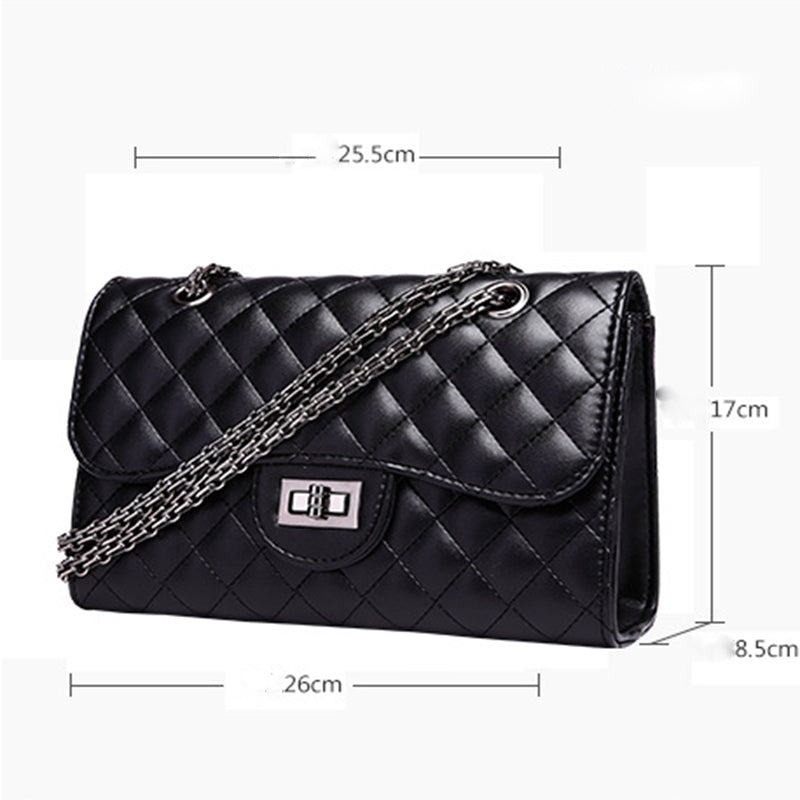Women Cowhide Leather Shoulder Bags High Quality Fashion Chain Strap Crossbody Bag Famous Brand Ladies Messenger Bag