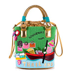 23x25CM Thailand theme Candy Color Buckets Women Creative Canvas Bag