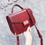 Retro Fashion Female Square bag  Quality PU Leather Women bag Crocodile pattern Tote bag Lock Shoulder Messenger Bags