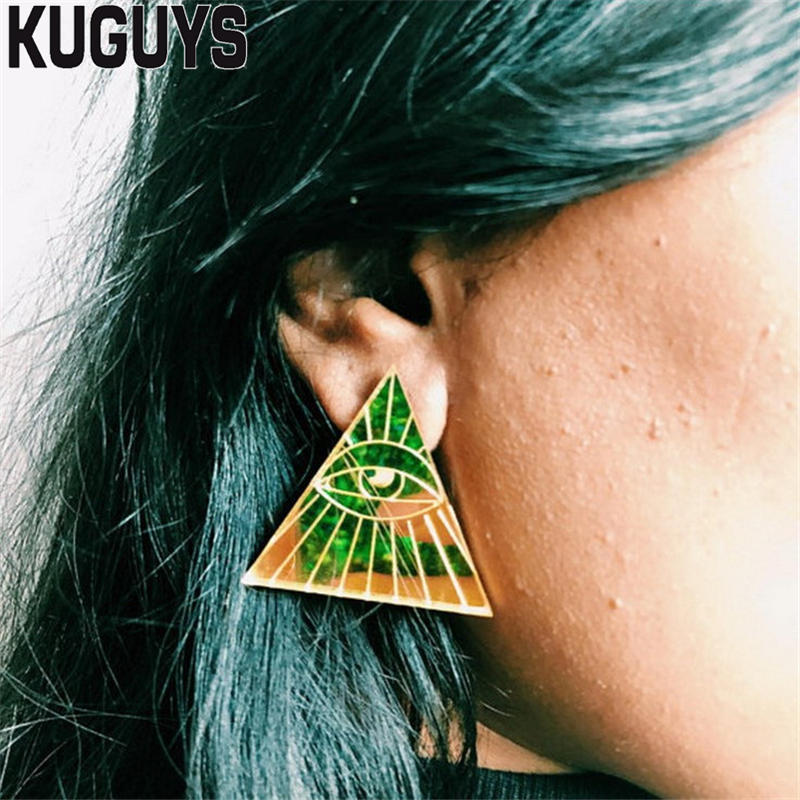 Trendy Jewelry Acrylic Gold Mirror Large Earrings for Womens Pendientes Triangle Eyes Stud Earring Oorbellen Brincos