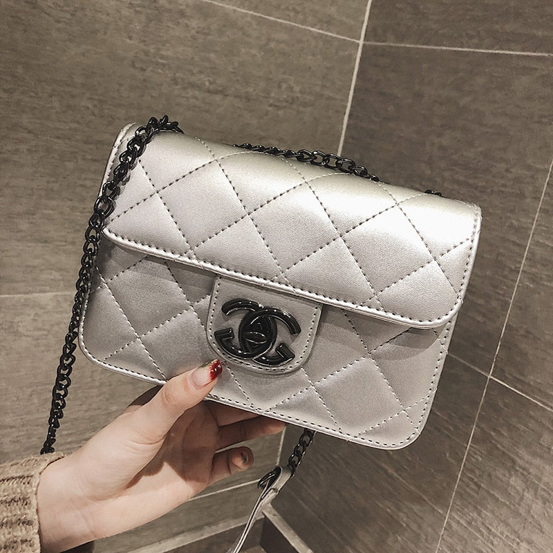Small Fragrance Women Baolingge PU Chain Bag Single Shoulder Slant Bag Handbag Luxury Flap Zipper bag