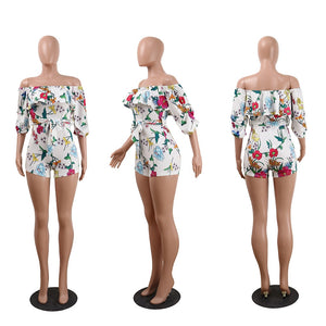 Flower Printed Casual Short Jumpsuit Summer Party Playsuit