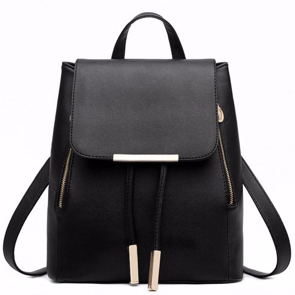 Black School Supplies Backpack Female PU Leather Backpack Japanese Street Bag