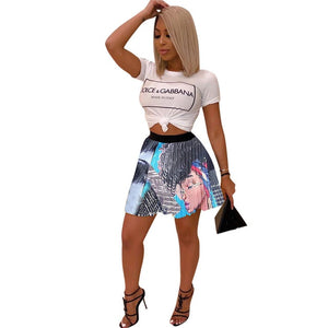 Cartoon Pattern Harajuku Pleated Skirts Women Fashion High Waist Plus Size Short Skirt Streetwear Female Club Party Mini Skirt