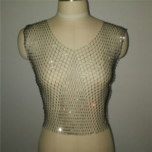 Queen Sexy Diamonds Mesh Cropped Tank Top Women Summer Cover Up Bikini See Through Rhinestone Net Party Club Crop Top
