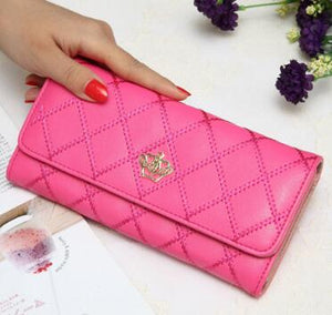 High capacity women wallets metal crown lady long clutch wallet female PU leather flip up card holder purse