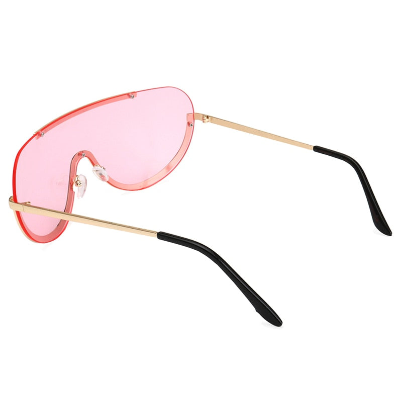 Retro Inspired Women Sunglasses Oversize Shield Metal Half Frame Eyeglasses Frame