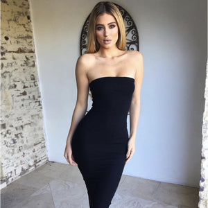 Cotton Summer Strapless Sleeveless Women Maxi Dress Sexy Bodycon Dress Long Dresses Tunic Vestido Midi Plus Size