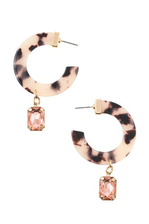 Semi circle resin drop gem earring