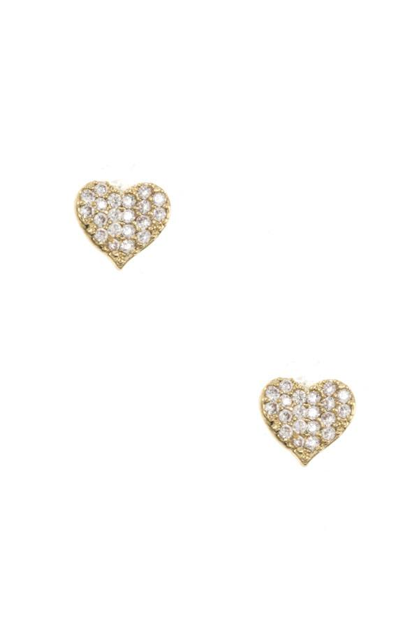 Dented cz stone heart earring