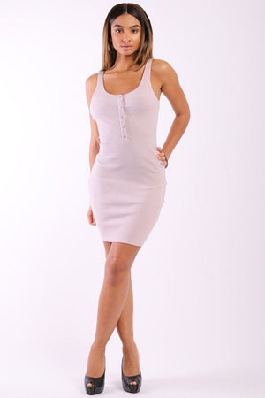 Solid, Sleeveless, Rib Tank Dress With Decorative Buttons