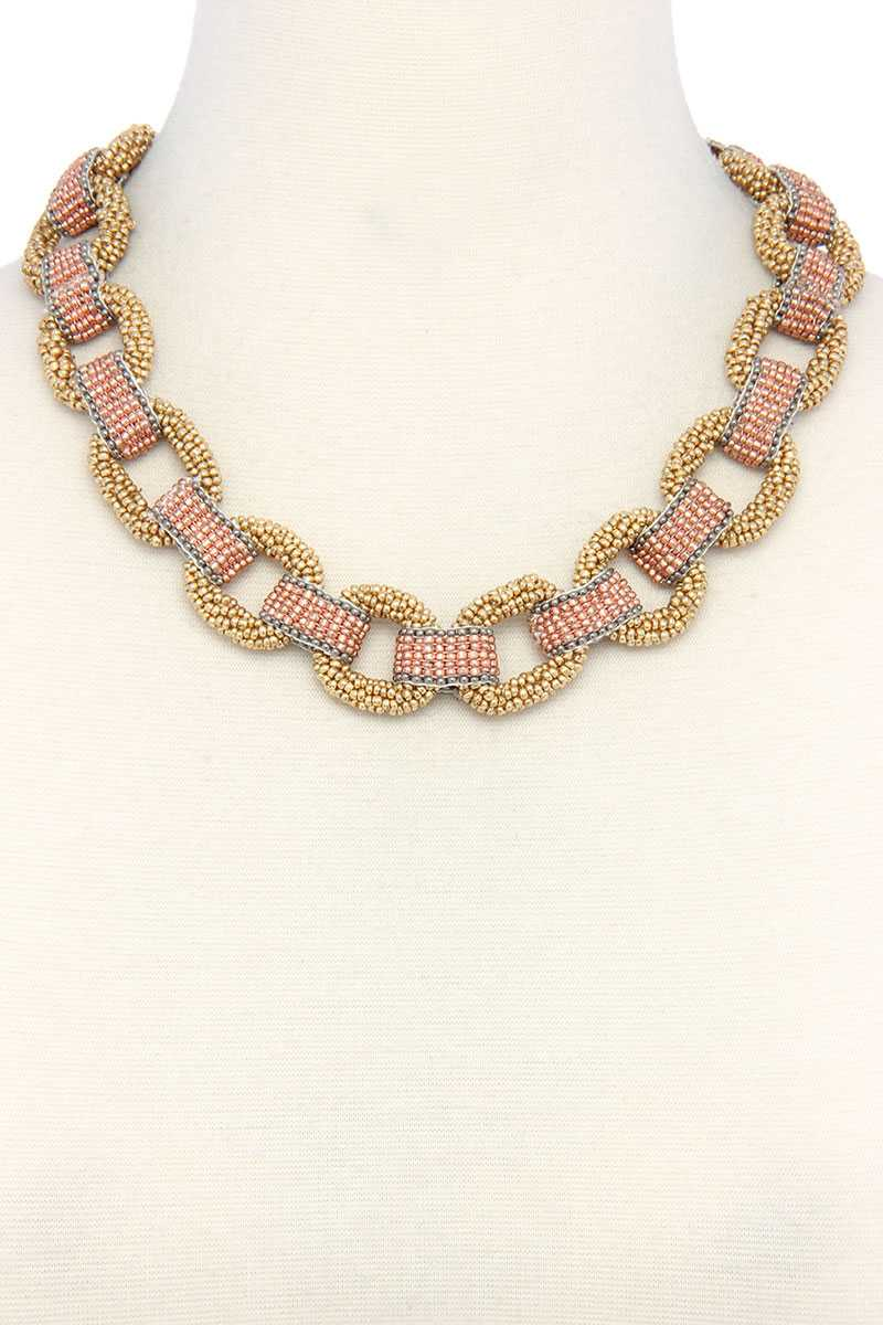 Beaded Circle Linked Necklace