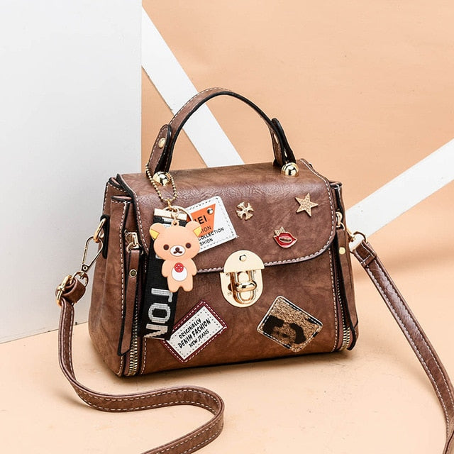 High Quality Youth Girls Black Leather Handbag New Shoulder Purse Ladies Tote Messenger Satchel Crossbody Large Top-Handle Bags