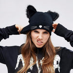 Cat Ears Women Hat Knitted Acrylic Warm Winter Beanie Caps Crochet Fur