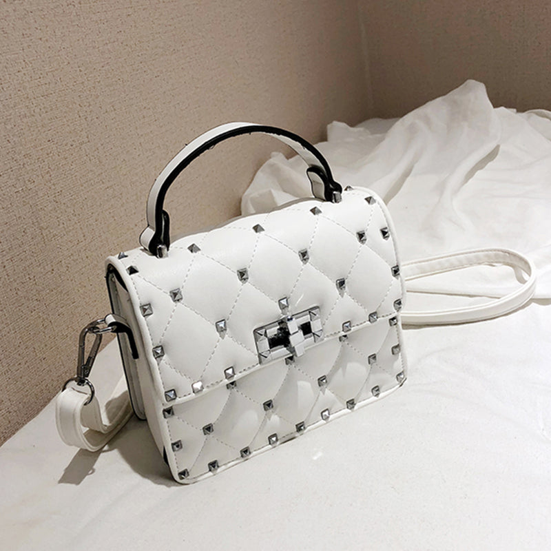 Vintage Rivet Small Square Crossbody Bags Mini Women Handbag Lock Pu Leather Chain Shoulder Bag Woman Messeng Bags