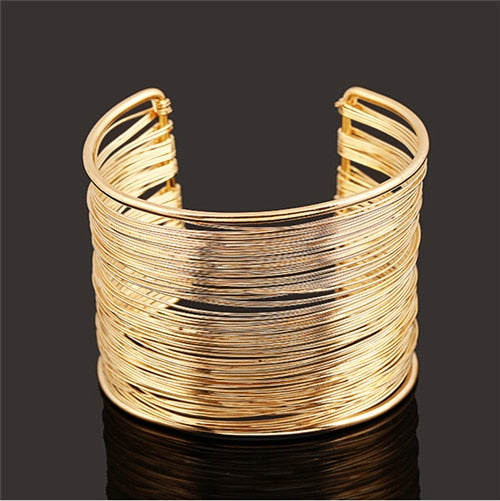 F&U New Arrival Fashion Curve Gold Color Wide Opened Cuff Bracelets & Bangles Ladies Jewelry