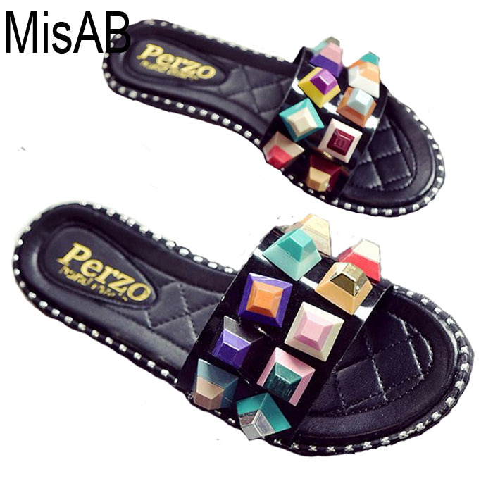 Women Slippers colorful rivets women sandals Flip Flops Casual fashion beach shoes for women Indoor Outdoor Shoes Summer